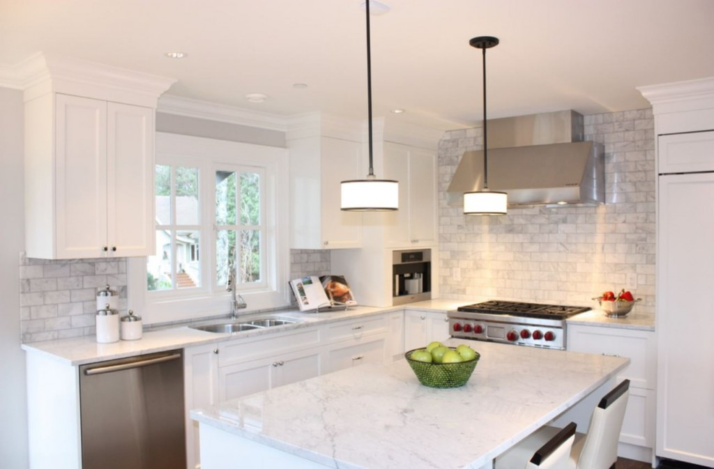 Agreable Cararra Counters And Matching Subway Backsplash Via