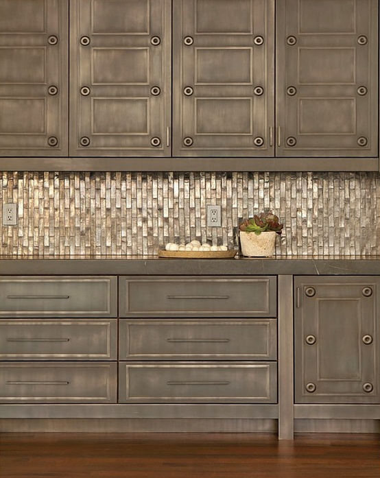 Installed Metallic Backsplash Via