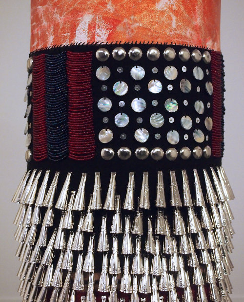 jeffrey gibson adorned punching bag at marc straus gallery via kishani perera blog