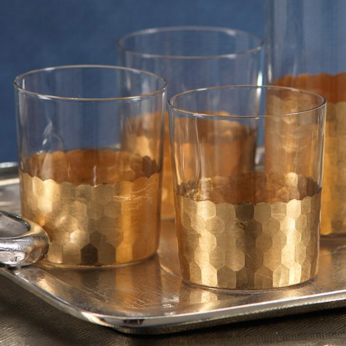 fez cut gold leaf glass tumbler set via kishani perera blog