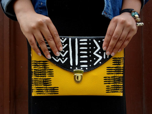 mud cloth inspired vegan clutch via kishani perera blog