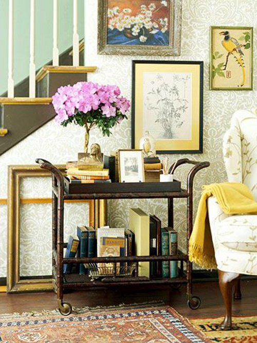bar cart as bookcase via kishani perera blog