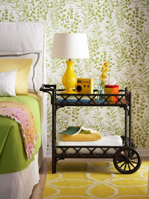 bar cart as nightstand via kishani perera blog