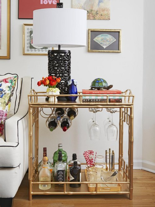 bar cart as side table via kishani perera blog