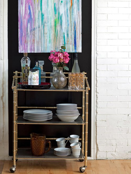 bar cart for kitchen storage via kishani perera blog