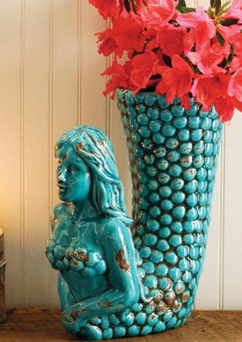 turquoise ceramic mermaid vase via kishani perera blog