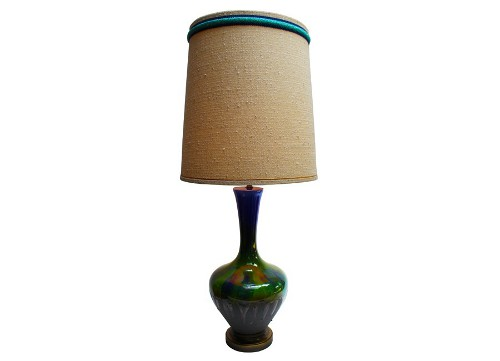 blue and green drip glaze lamp via kishani perera inc.