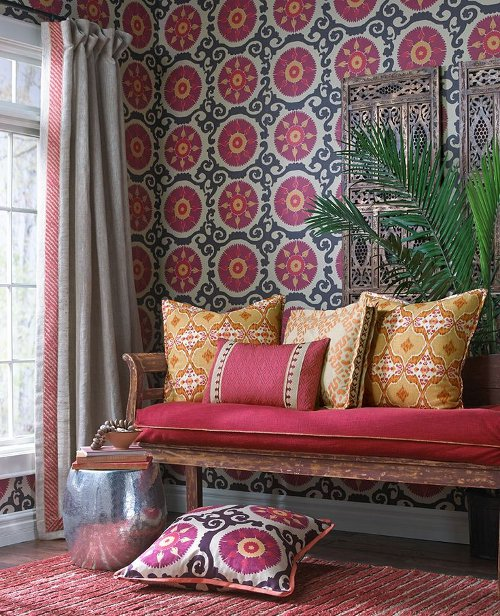 suzani mulberry wallpaper via kishani perera blog