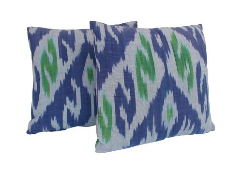 blue and green ikat pillows via rummage