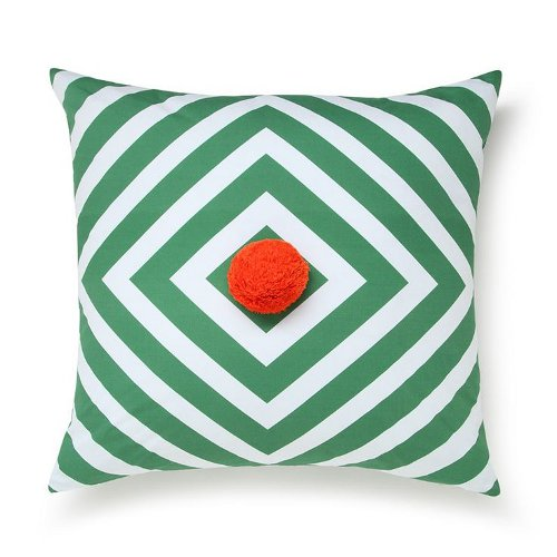 green stripe pom pom cushion via kishani perera blog