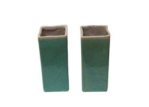 turquoise drip glaze vases via rummage