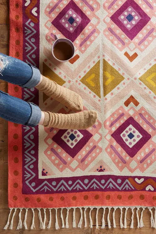 kaleidoscopic blooms rug via kishani perera blog