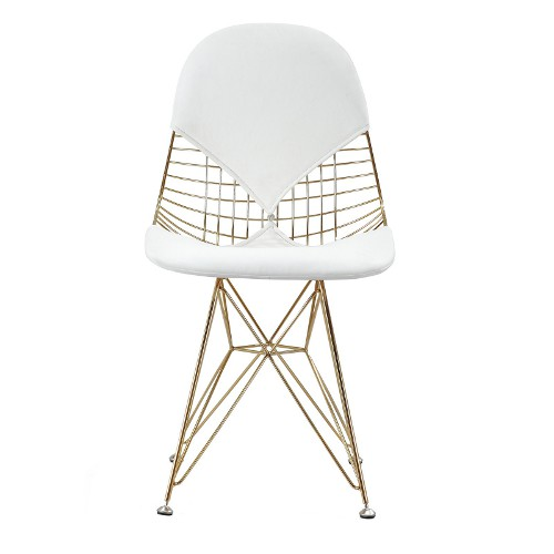 white vegan leather gold geometric chair via kishani perera blog