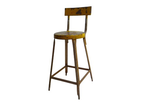 yellow industrial stool via rummage