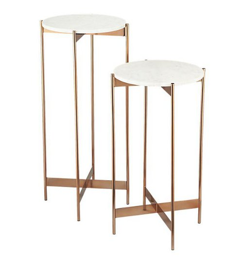 marble-rose gold pedestal tables via kishani perera blog