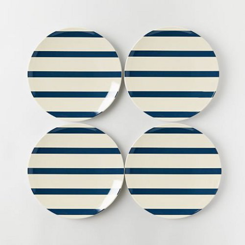 nautical melamine dinner plates via kishani perera blog