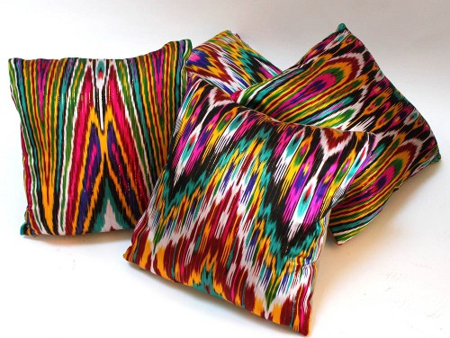 vintage parisian silk ikat pillows via rummage
