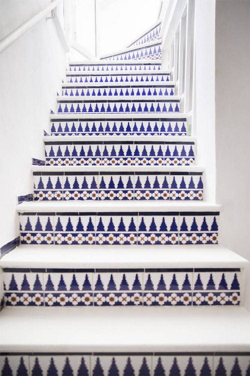 vivid blue staircase via kishani perera blog