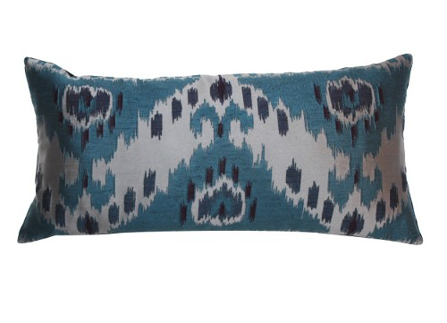 teal ikat lumbar pillow via rummage