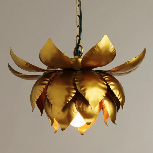 gold lotus hanging pendant lamp via kishani perera blog