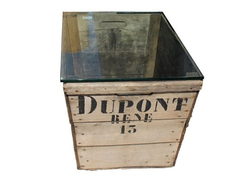 vintage style crate wood side table via rummage
